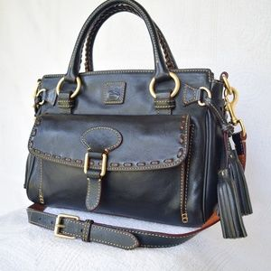 Dooney Florentine leather pocket black satchel